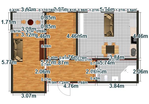 Планировка Двухкомнатная квартира площадью 62.95 кв.м в ЖК «Пузатино»