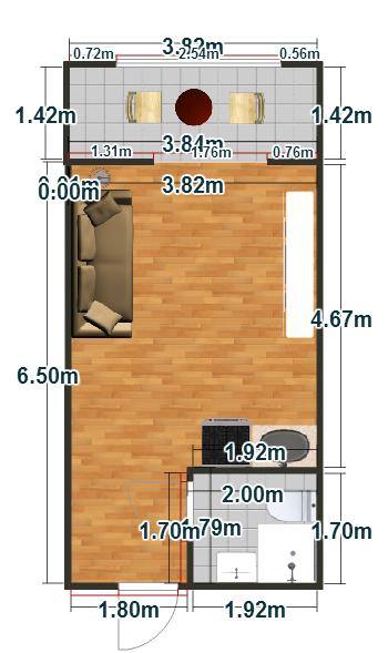 Планировка Студия площадью 26.4 кв.м в ЖК «Пузатино»
