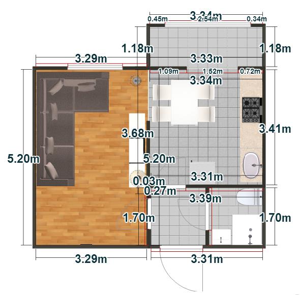 Планировка Однокомнатная квартира площадью 35.37 кв.м в ЖК «Пузатино»
