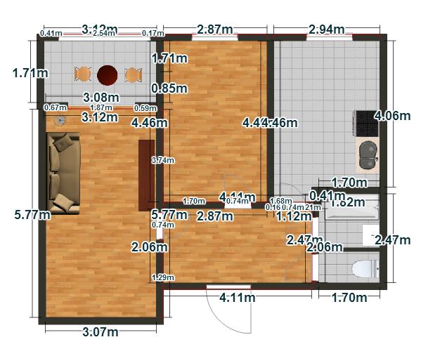 Планировка Двухкомнатная квартира площадью 46.98 кв.м в ЖК «Пузатино»